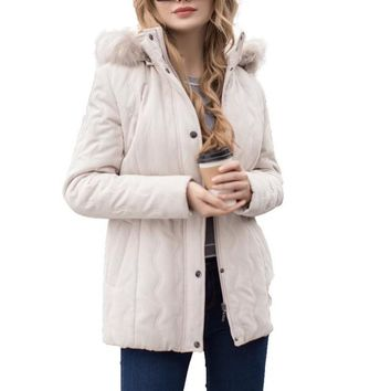 Ladies jacket Women micro moss quilted jacket Spring turn-down collar detachable hood outerwear