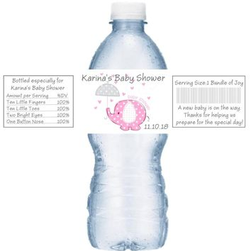 21 Elephant Baby Shower Water Bottle Labels Pink