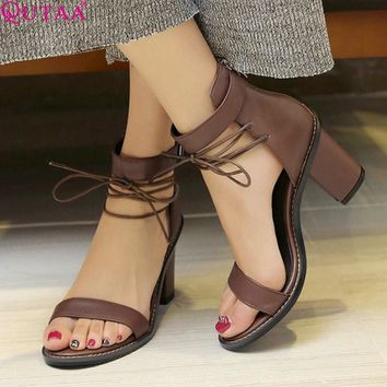 QUTAA 2017 Women Sandal Square High Heel Summer Zipper Brown Women Shoes Genuine Leath