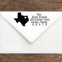 Custom State Return Address Stamp - State Love Stamp-Rubber, Self-Inking State Pride Stamp -Personalized Housewarming, Hostess, Wedding Gift