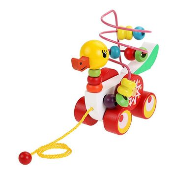 Baby Wooden Toys for Children Duckling Trailer Toys For Baby Boys Girls