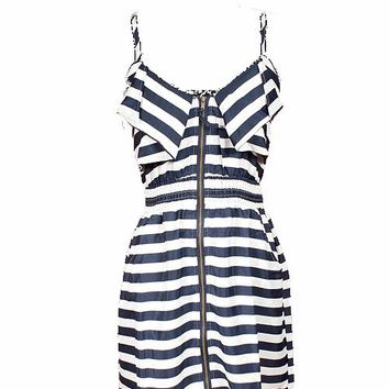 STRIPE ZIPPER FRONT DRESS | RUCHED BOUTIQUE