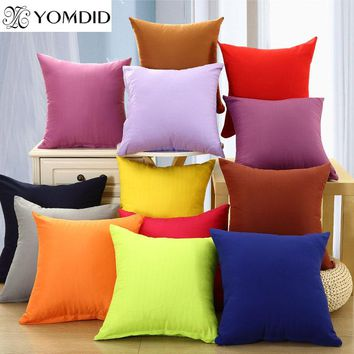 Solid color cushion cover sofa soft fabric pillow case office pillows car chair home sofa almofada Cojines decoration 19 color