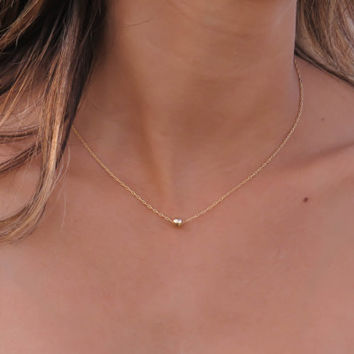 Gold necklace, tiny one gold ball necklace, gold bead necklace, gold jewelry, tiny dot necklace, minimalist gold necklace, bridesmaid gift