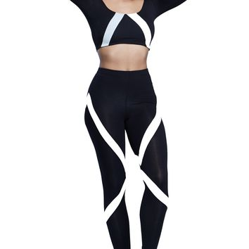 Black And White High Rise Skinny Fit Leggings Pants