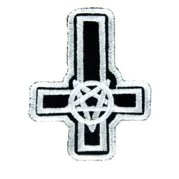 ac spbest Inverted Pentagram Cross Patch Iron on Applique Occult Clothing