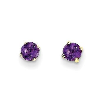 14k Yellow Gold 4mm Genuine Amethyst Round Stud Earrings
