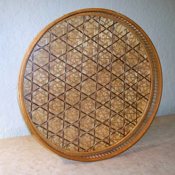 Vintage Bamboo Tray with Glass Top, Intricate Weave Design Tray, Serving Tray, Vintage Serving Tray, Brown Woven Tray, Circular Serving Tray
