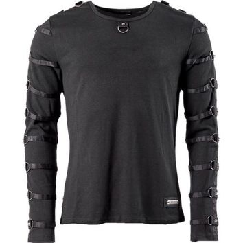 Queen of Darkness men's shirt with rings and studs on sleeves
