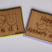 Card with Envelope, Father's Day, Gift Idea, Wood, Lasercut