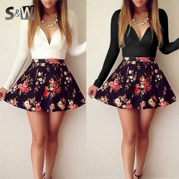 Women Sexy Deep V-Neck Long Sleeve Floral Print Short  Dress 2 Colors = 1667728068