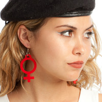 Red Jumbo Girl Power Earrings