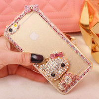 new Luxury Crystal Rhinestone hello kitty Clear Diamond Shining Bling For iPhone 7 7plus 6 6s plus 5 5s SE 4 4s cute Phone Case