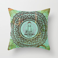 buddha lotus Throw Pillow by crows nest