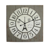 PARIS Vintage Large Wall Clock 27x27 Inches Grey Wood Mdf Canva