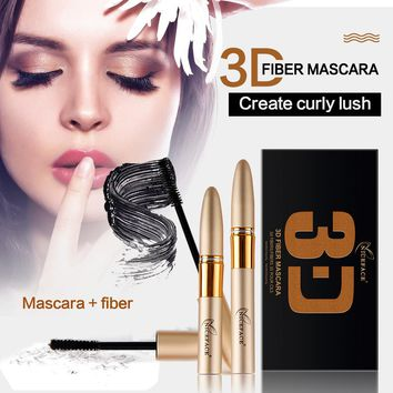 2Pcs/Set 3D Fiber Mascara Makeup Long Black Lash Eyelashes Extension Waterproof Double Mascara Maquillage Curling Mascara