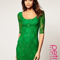 ASOS | ASOS PETITE Exclusive Lace Dress With Cut Out Back Detail at ASOS