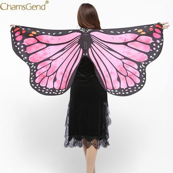 Chamsgend Women Girls Butterfly Wings Shawl Scarf Pashmina Fairy Ladies Festival Cosplay Costume Accessory 80117