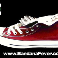 Red Converse All-Star Chuck Taylor Hi Big Silver Pyramid Studs Tongues