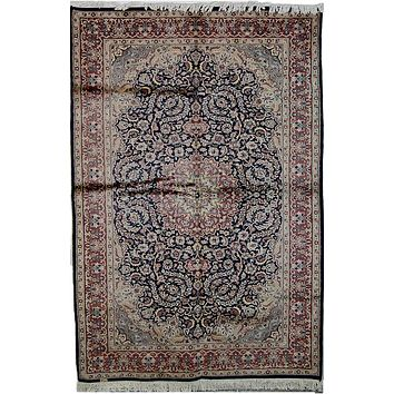 Vintage Pakistan Kashmiri Area Rug, Silk and Wool Oriental Rug, Blue Orange Rug, 5' x 8' Rug