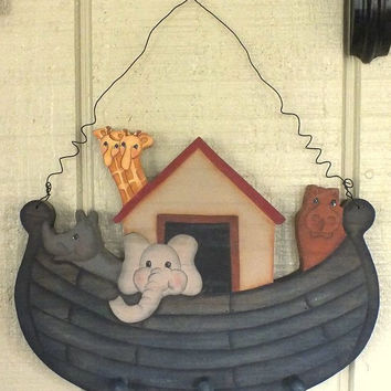 Vintage Noah's Ark Clothes Rack Handpainted Handcrafted Wood With Curly Wire Hanger