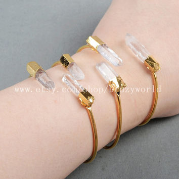 Adjustable Handcuff Gold Plated Two Natural White Quartz Crystal Point Bangle Golden Electroformed Gemstone Bangle Aura Quartz Jewelry G0283
