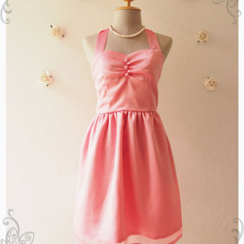 BLOOM : Pink dress chiffon dress vintage inspired party dress prom dress evening dress bridesmaid dress party dress - size s, m ,l
