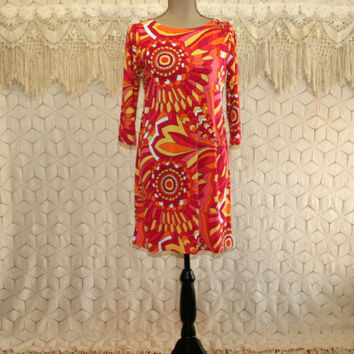 Colorful Dress Medium Petite Spring Dresses Mod Midi Knit Dress Psychedelic 70s Style Dress Yellow Red Orange Stained Glass Womens Clothing