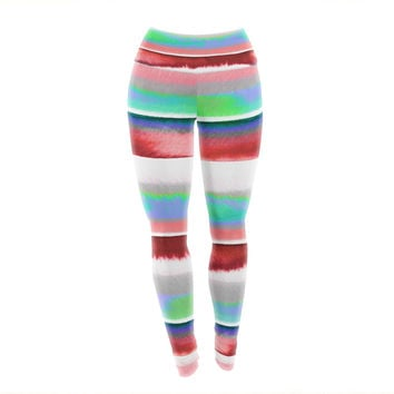 "Ebi Emporium ""Prism Stripe 2"" Red Blue Yoga Leggings"