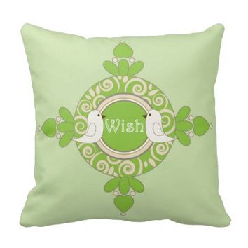 Retro-Style Cute Birds Design Girly Green Throw Pillows: Wish & Love