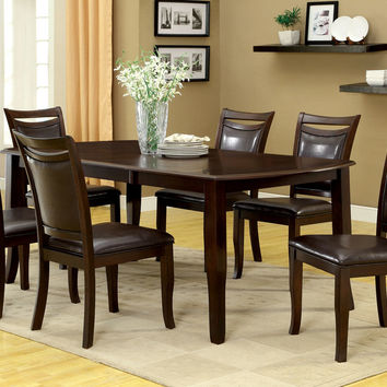7 Pc. Woodside Contemporary Style Dark Cherry Wood Finish Dining Set with rounded ends dining table