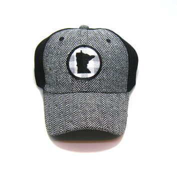 Minnesota  Herringbone Trucker Hat - White Gray Buffalo Check Patch
