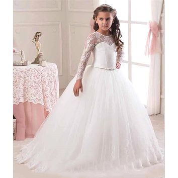 2017 New Long Sleeve vestidos de primera comunion Lace Pageant Dresses For Little Girls Flower Girl Dresses With Sweep Train