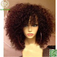 Short Human Hair Wigs Curly Virgin Peruvian Remy Hair Full Lace Wig Kinky Curly Wig With Bangs Unprocess Hair Lace Front Wig