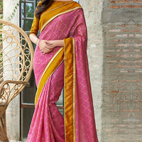 Pink Saree with Mustard Blouse
