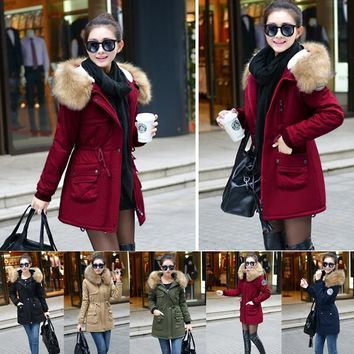 2018 Winter Green Cotton Fur Collar Coat Cotton Padded Jacket Outwear