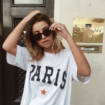 OKOUFEN tumblr instagram fashion unisex tshirt graphic PARIS STAR t-shirt streetwear cool high street tops tees cool print shirt
