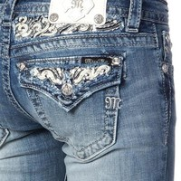Miss Me LT 73 White Leather and Sequin Haze Boot Cut Jeans