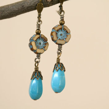 Turquoise and Tan Boho Style Czech Glass Flower Dangling Earrings