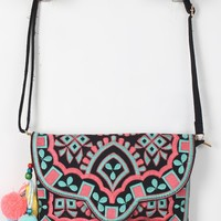 Tassel Pom Pom Embroidered Bag