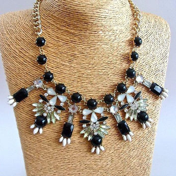Black White Acrylic Rhinestone Bib Necklace, Clear Glass Rhinestones, Vintage