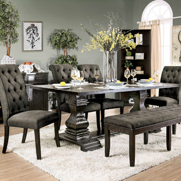 Furniture of america CM3840T-GY-6PC 6 pc nerissa antique black finish wood trestle base dining table set with gray seating