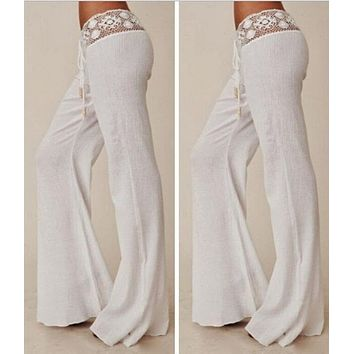 2017 new hot sale Summer Boho Hippie Women High Elastic Waist Lace  Wite Casual Trousers Long Pants free shipping