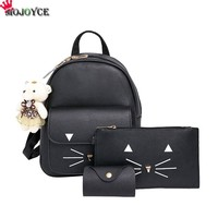 Fashion Backpack Women Pu Leather Back Pack Famous Brand School Bags for Girls sac a dos femme with Purse and Bear 2017