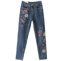 Retro Floral Embroidery Demin Skinny Jeans Woman ZA Pencil Pants Ripped Washed Zip Pocket Button Cozy Casual Slim Trousers femme