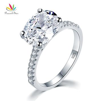 Peacock Star Solid 925 Sterling Silver 4 Carat Wedding Anniversary Ring Oval Cut Luxury Jewelry CFR8300