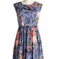 ModCloth Mid-length Cap Sleeves A-line Garden Marvels Dress in Blue
