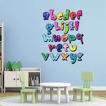 kcik105 Full Color Wall decal Alphabet colorful living room children's bedroom