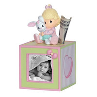 Precious Moments Baby Girl Photo Cube Bank