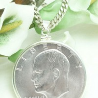 """1971-S """"Ike"""" Eisenhower Dollar Silver Clad Coin Sterling Pendant"""